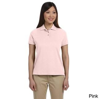 Women's Solid Pima Interlock Polo Shirt (5 options available)