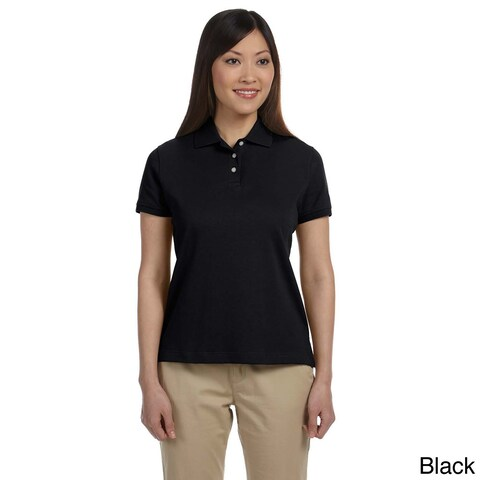 Women's Solid Pima Interlock Polo Shirt