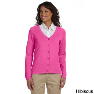Women's Solid Six-button Cardigan (Option: S,Hibiscus)