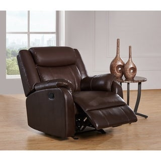 Brown Bonded Leather Glider Recliner