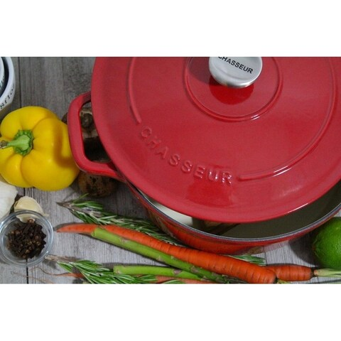 Chasseur 5.5-quart Red French Enameled Cast Iron Round Dutch Oven