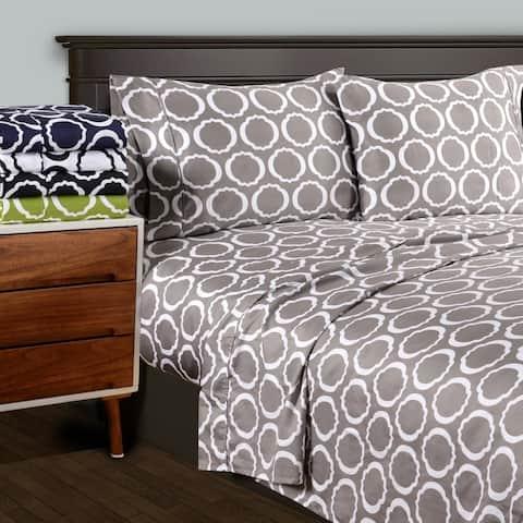 Superior 600 Thread Count Deep Pocket Printed Cotton Blend Bed Sheet Set