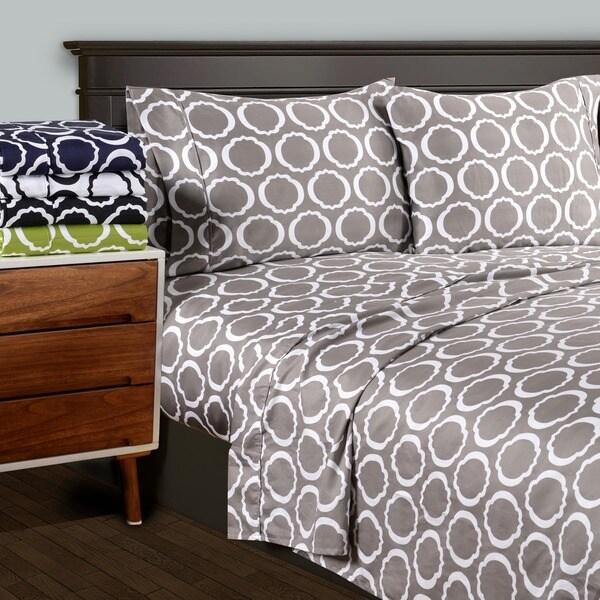 Superior 600 Thread Count Deep Pocket Printed Cotton Blend Sheet Set