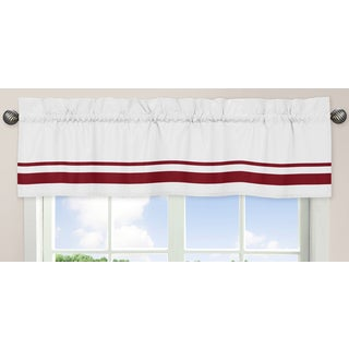 Sweet Jojo Designs White and Red 54-inch x 15-inch Window Treatment Curtain Valance for White and Red Hotel