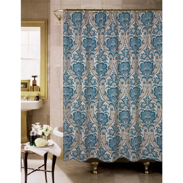 Lyndhurst Blue And Tan Floral Shower Curtain - Free Shipping Today ...