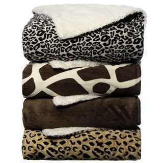 Animal Print Sherpa Decorative Throw Blanket