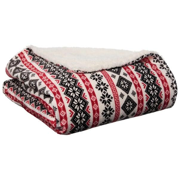 Nordic Print Sherpa Decorative Throw Blanket
