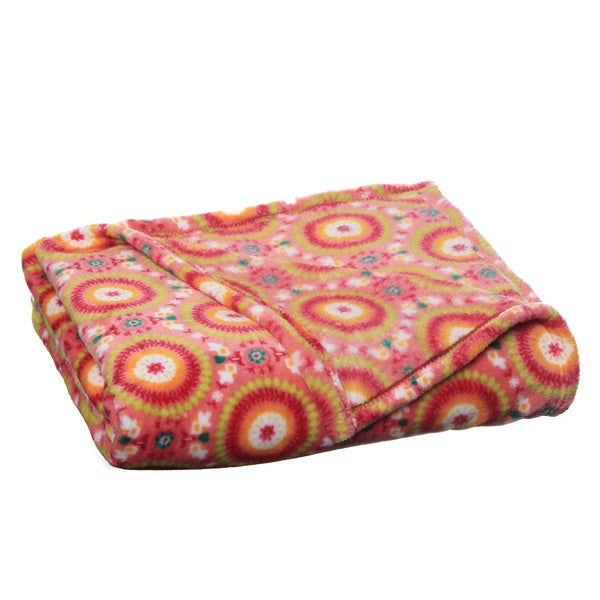 Suzani Pink Luxury Plush Printed Throw