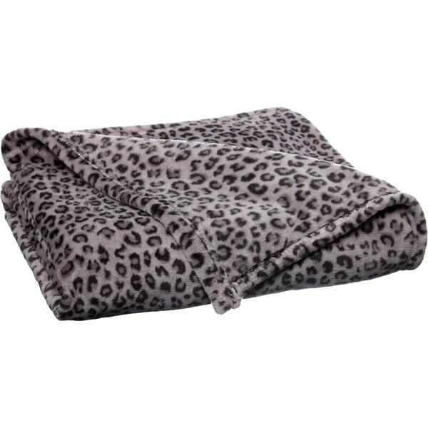 Snow Leopard Grey Luxury Plush Printed Throw