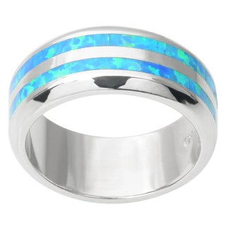 Journee Collection Sterling Silver Opal Stripe Band (8 mm)