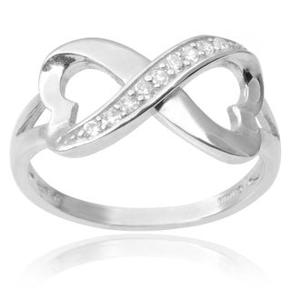 Journee Collection Sterling Silver Cubic Zirconia Infinity Heart Ring (3 options available)
