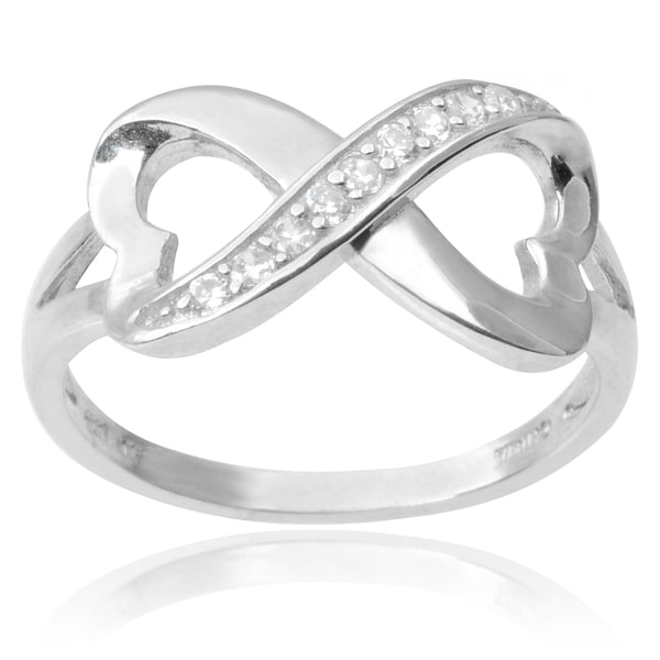 Journee Collection Sterling Silver Cubic Zirconia Infinity Heart Ring