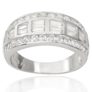 Journee Collection Sterling Silver Cubic Zirconia Dome Bridal-style Ring