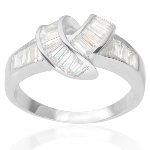 Journee Collection Sterling Silver Cubic Zirconia Knot Bridal-style Ring