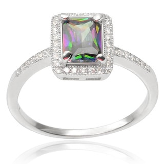 Journee Collection Sterling Silver Mystic Topaz Cubic Zirconia Bridal Ring