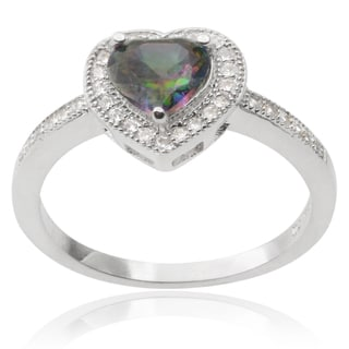 Journee Collection Sterling Silver Mystic Topaz Cubic Zirconia Heart Ring