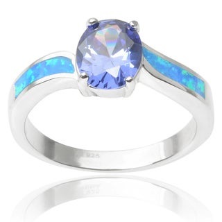 Journee Collection Sterling Silver Oval-cut Cubic Zirconia Opal Ring