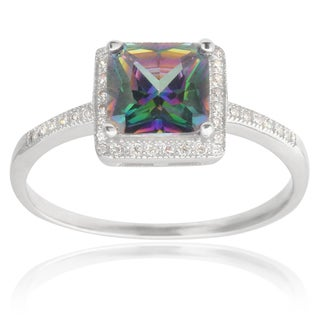 Journee Collection Sterling Silver Mystic Topaz Cubic Zirconia Bridal-style Ring