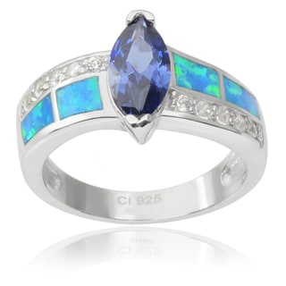 Journee Collection Sterling Silver Cubic Zirconia Opal Ring