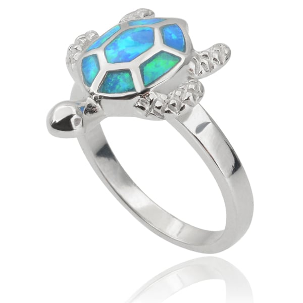 Journee Collection Sterling Silver Opal Sea Turtle Ring
