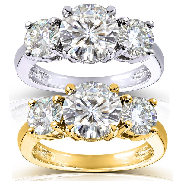 Annello by Kobelli 14k Gold 2 1/2ct TGW Round 3-Stone Moissanite Engagement Ring. Opens flyout.
