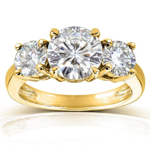 Annello by Kobelli 14k Gold 2 1/2ct TGW Round 3-Stone Moissanite Engagement Ring