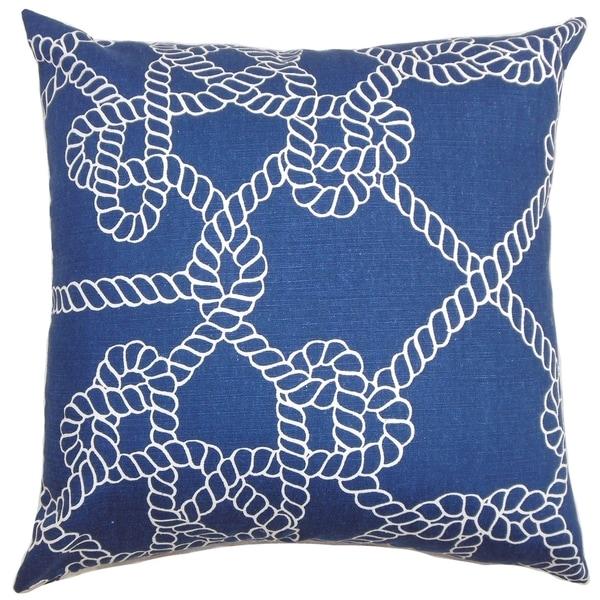 Accalia Coastal Down Filled Throw Pillow Navy Blue