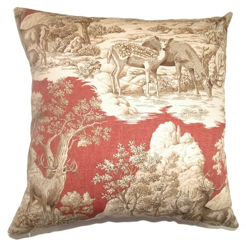 Feramin Toile Down Filled Throw Pillow Redwood Back