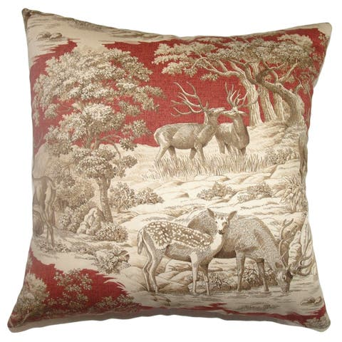 Feramin Toile Down Filled Throw Pillow Redwood Front