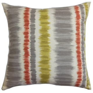 Odile Stripes Down Fill Throw Pillow Gray Green