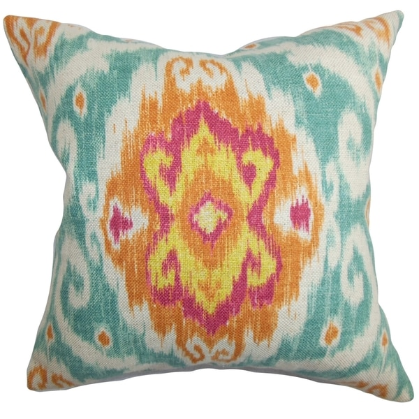 Deandre Ikat Down Fill Throw Pillow Blue Orange Free Shipping