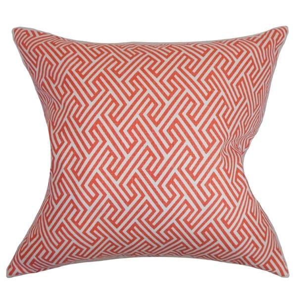 Graz Geometric Down Fill Throw Pillow Coral
