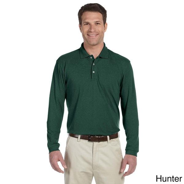 Men's Easy Blend Long Sleeve Polo Shirt - On Sale - Overstock ...
