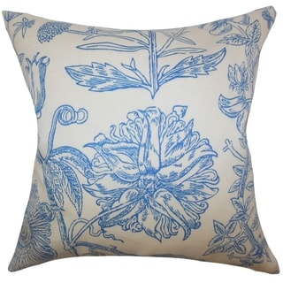 Neola Floral Down Filled Throw Pillow Blue