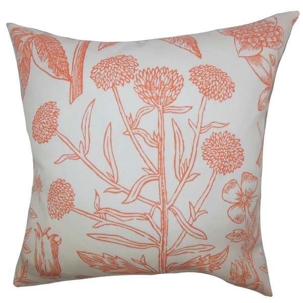 Neola Floral Down Filled Throw Pillow Orange