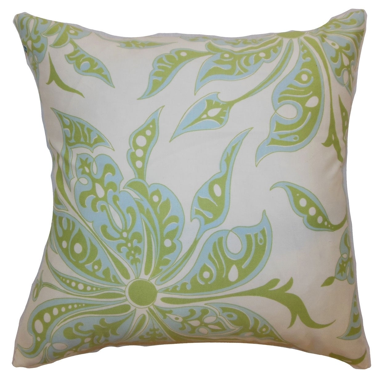 Baiamare Floral Down Filled Throw Pillow Aqua Green (Green/Blue - 20-Inch - Modern & Contemporary)