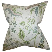 Fflur Floral Down Filled Throw Pillow Aqua Green