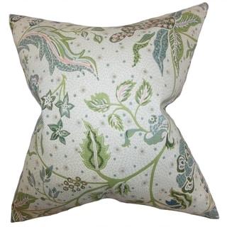 Fflur Floral Down Filled Throw Pillow Aqua Green