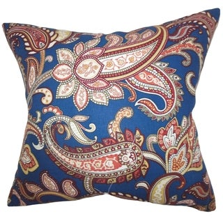 Galila Floral Down Filled Throw Pillow Navy Blue