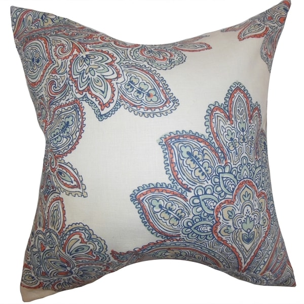 Haldis Floral Down Filled Throw Pillow Blue