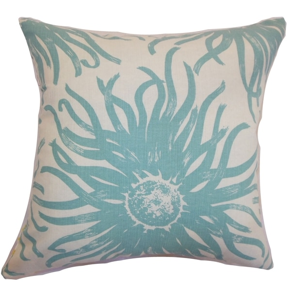 Ndele Floral Down Filled Throw Pillow Aqua