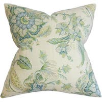 Eluned Floral Down Filled Throw Pillow Blue