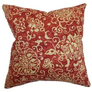 Jaffna Floral Down Filled Throw Pillow Russett