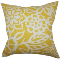 Ozara Floral Feather and Down Filled Throw Pillow Yellow
