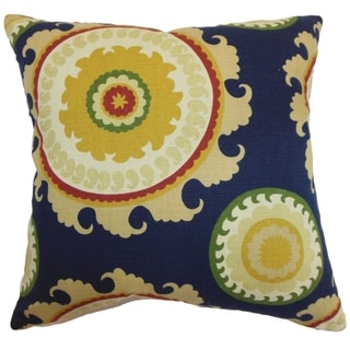 Obyan Geometric Feather and Down Filled Throw Pillow Blue