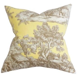 Evlia Toile Feather and Down Filled Throw Pillow Yellow