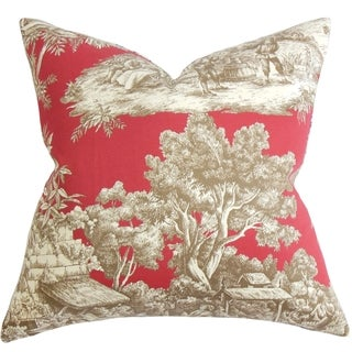 Evlia Toile Feather and Down Filled Throw Pillow Red
