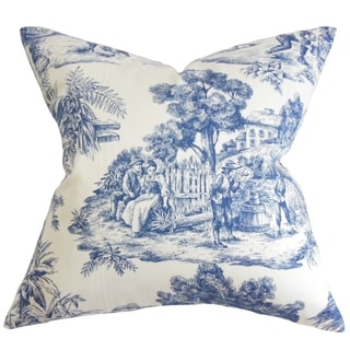 Evlia Toile Etoile Feather and Down Filled Throw Pillow Blue