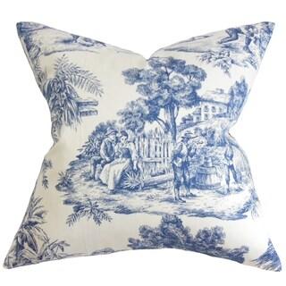 Evlia Toile Etoile Feather and Down Filled Throw Pillow Blue
