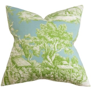 Evlia Toile Feather and Down Filled Throw Pillow Green